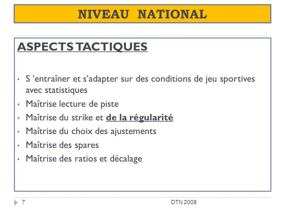 NIVEAU NATIONAL ASPECTS TACTIQUES