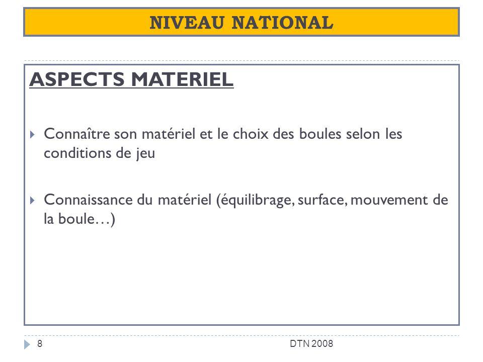ASPECTS MATERIEL NIVEAU NATIONAL