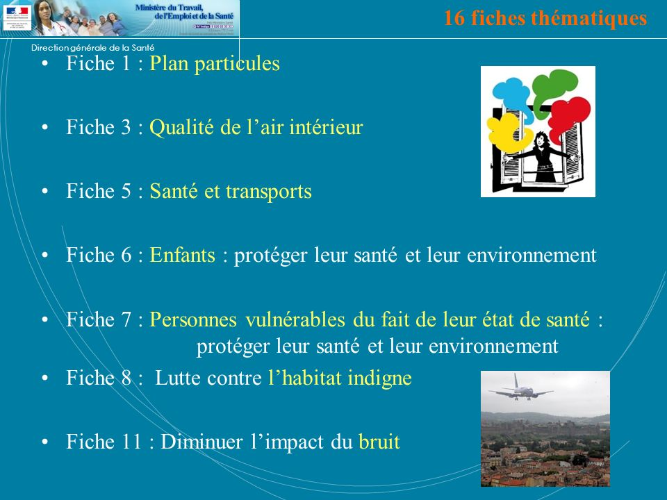 16 fiches thématiques Fiche 1 : Plan particules. Fiche 3 : Qualité de l'air intérieur. Fiche 5 : Santé et transports.