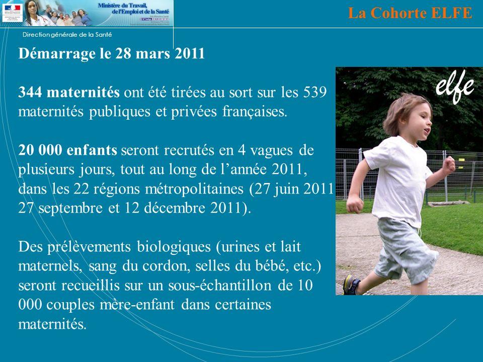 La Cohorte ELFE Démarrage le 28 mars 2011. 344 maternités ont été tirées au sort sur les 539 maternités publiques et privées françaises.