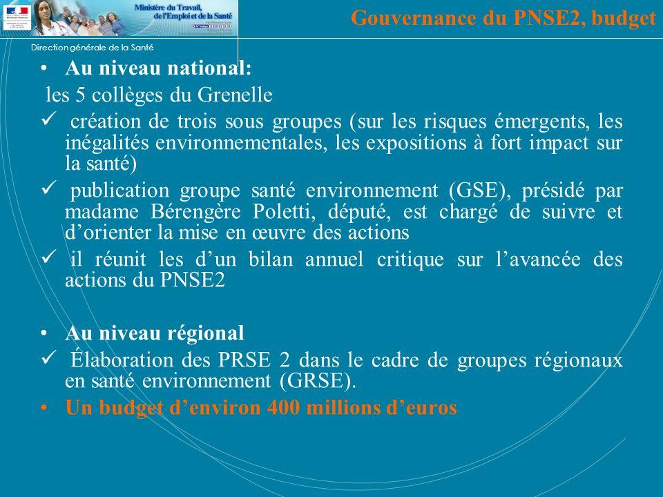 Gouvernance du PNSE2, budget