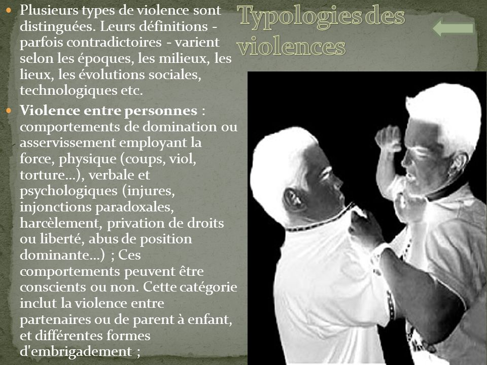 Typologies des violences
