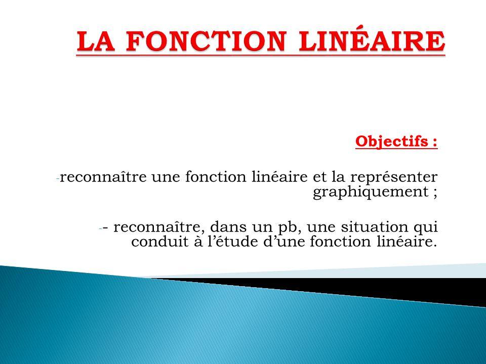 LA FONCTION LINÉAIRE Objectifs :