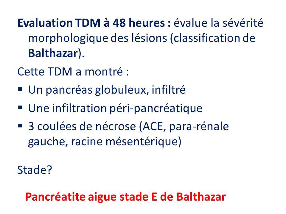 Evaluation TDM à 48 heures : évalue la sévérité morphologique des lésions (classification de Balthazar).