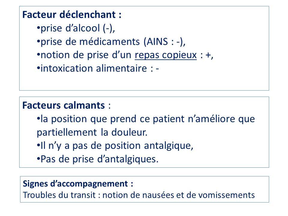 prise de médicaments (AINS : -),