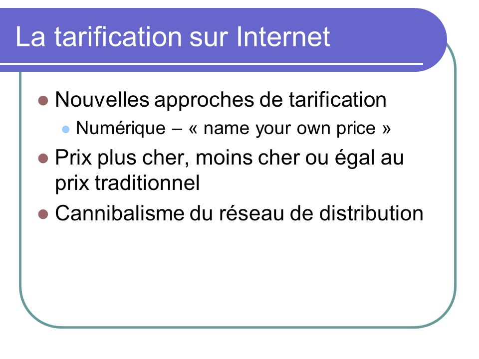La tarification sur Internet