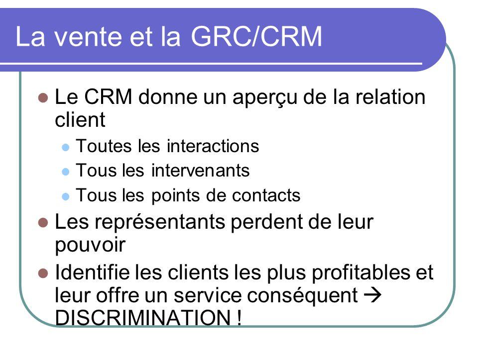 La vente et la GRC/CRM Le CRM donne un aperçu de la relation client