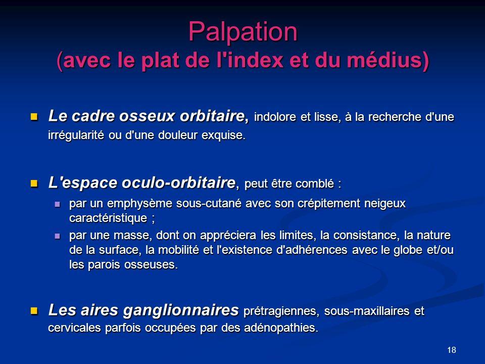 Palpation (avec le plat de l index et du médius)