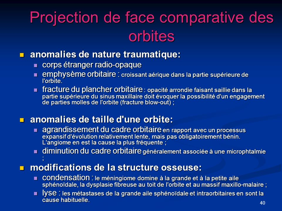 Projection de face comparative des orbites