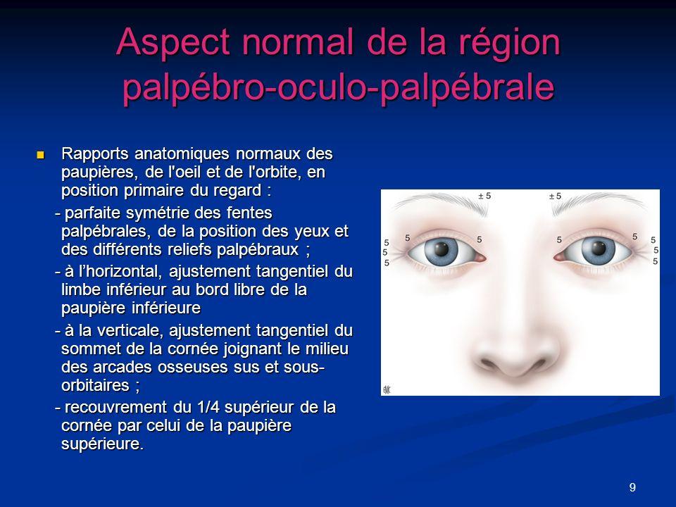 Aspect normal de la région palpébro-oculo-palpébrale