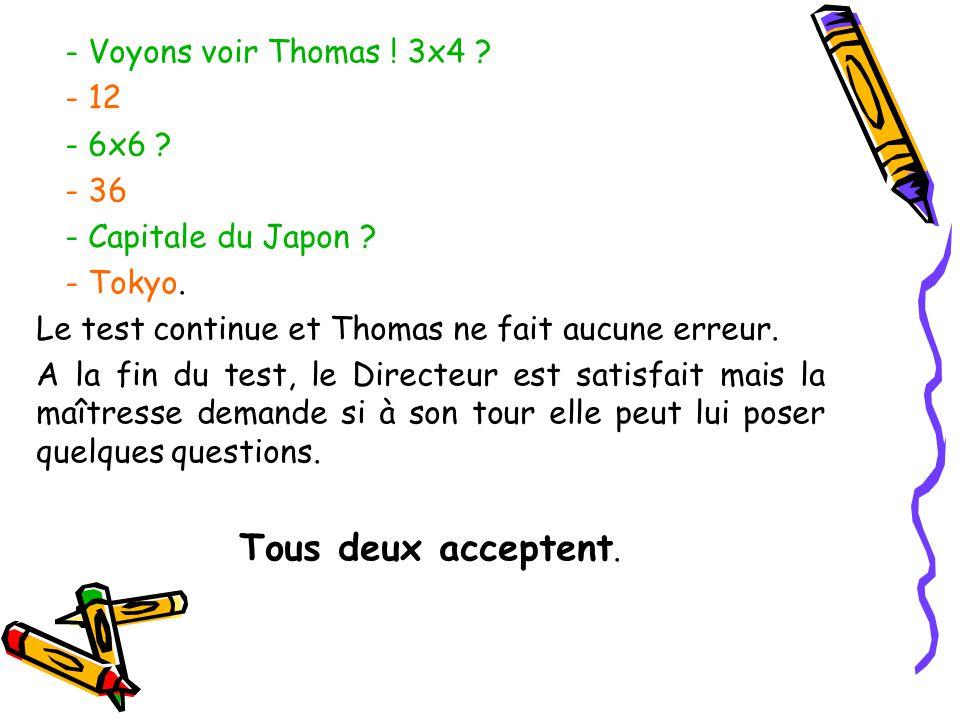 Tous deux acceptent. - Voyons voir Thomas ! 3x4 - 12 - 6x6 - 36