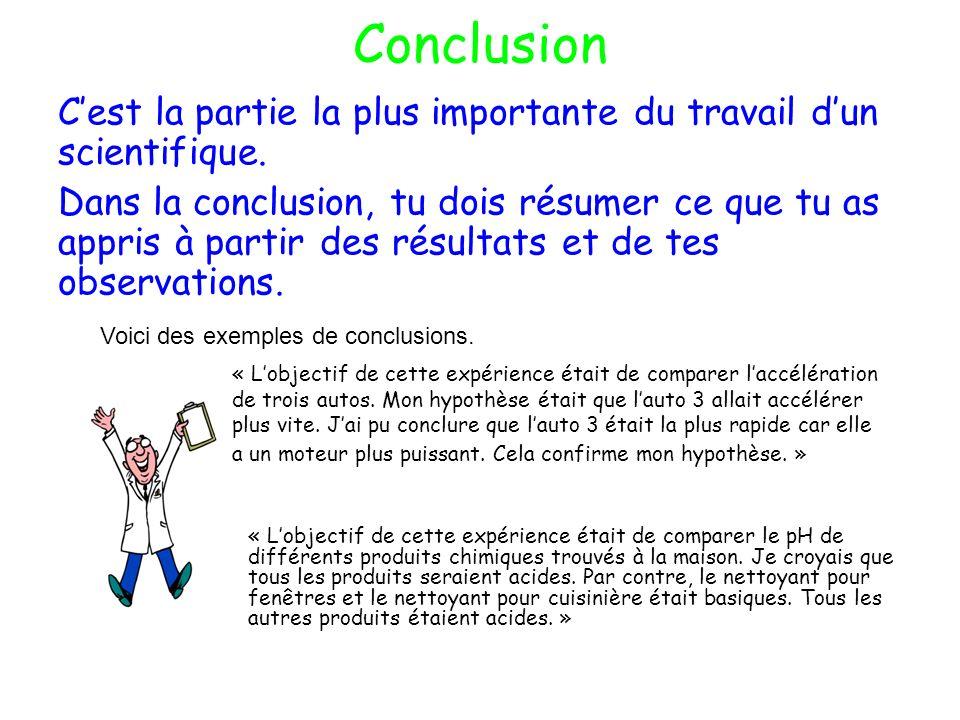 Conclusion C'est la partie la plus importante du travail d'un scientifique.