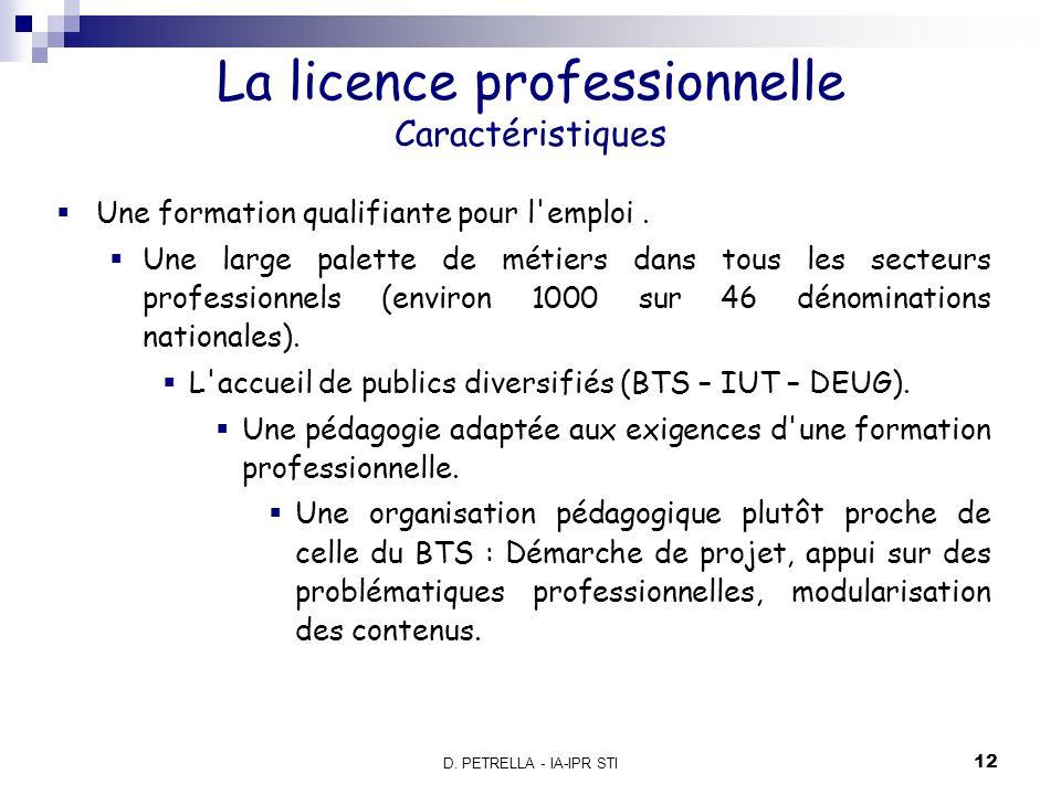 La licence professionnelle Caractéristiques