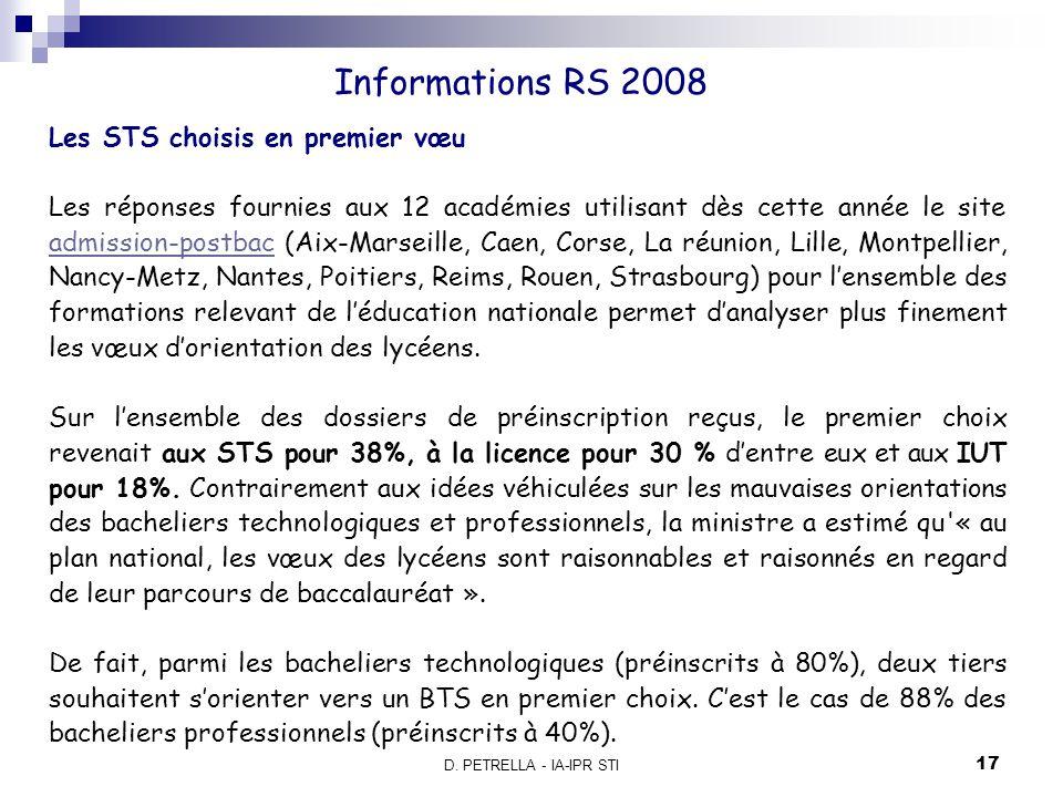 Informations RS 2008 Les STS choisis en premier vœu