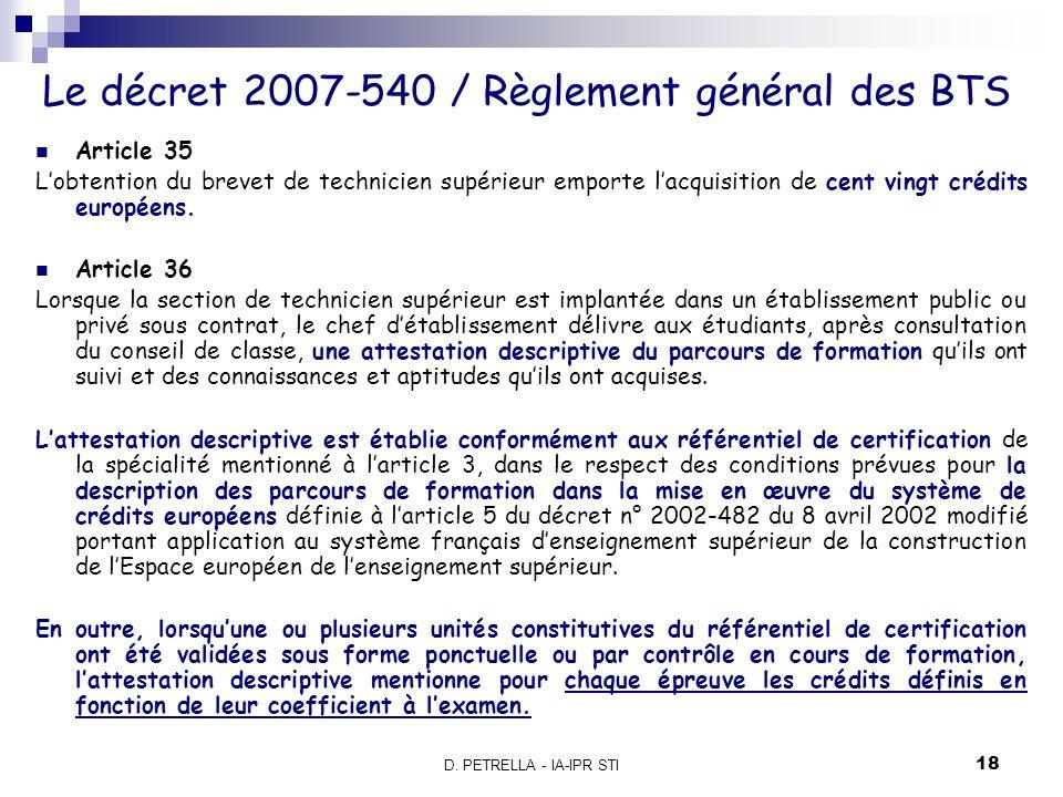Le décret 2007-540 / Règlement général des BTS