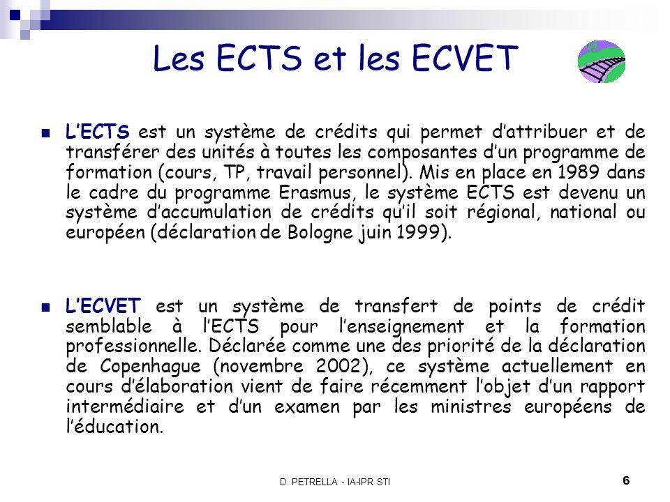 Les ECTS et les ECVET