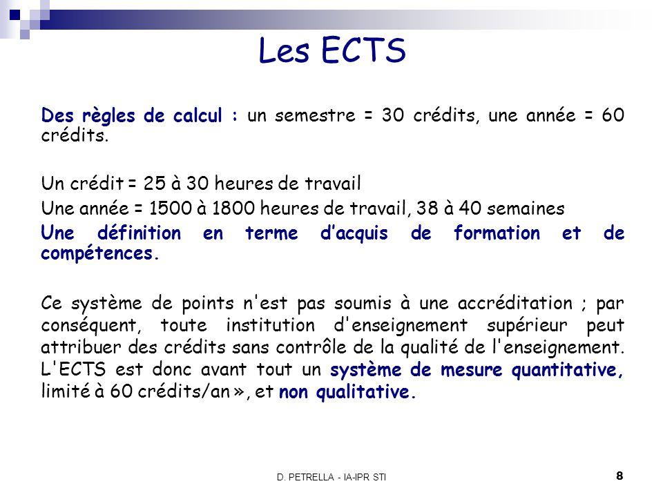 Les ECTS Des règles de calcul : un semestre = 30 crédits, une année = 60 crédits. Un crédit = 25 à 30 heures de travail.