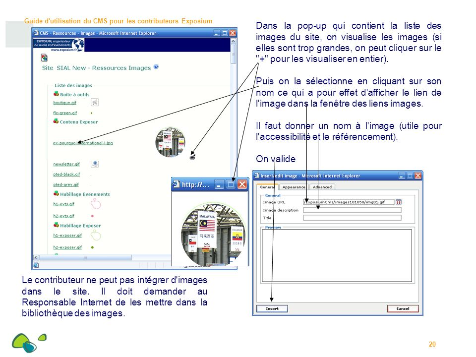 Dans la pop-up qui contient la liste des images du site, on visualise les images (si elles sont trop grandes, on peut cliquer sur le + pour les visualiser en entier).