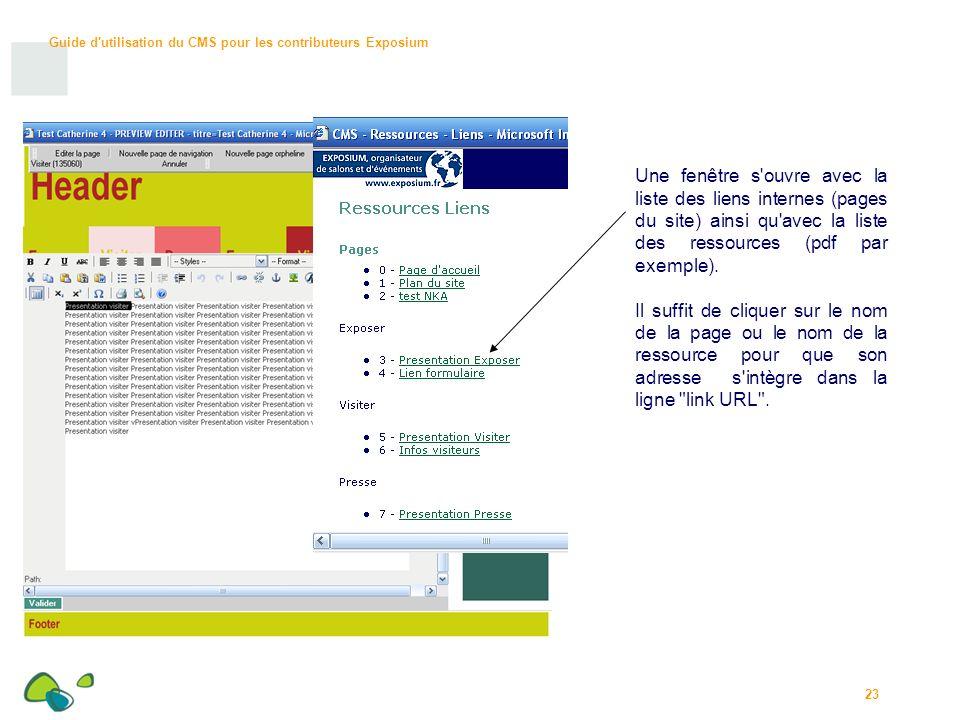 Une fenêtre s ouvre avec la liste des liens internes (pages du site) ainsi qu avec la liste des ressources (pdf par exemple).