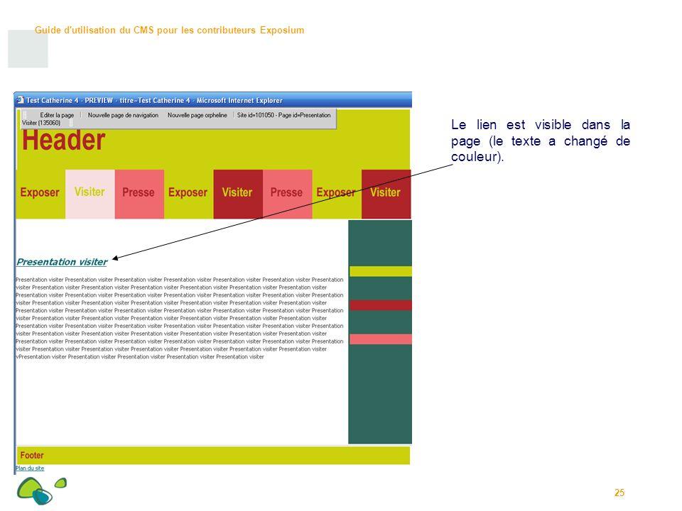 Le lien est visible dans la page (le texte a changé de couleur).