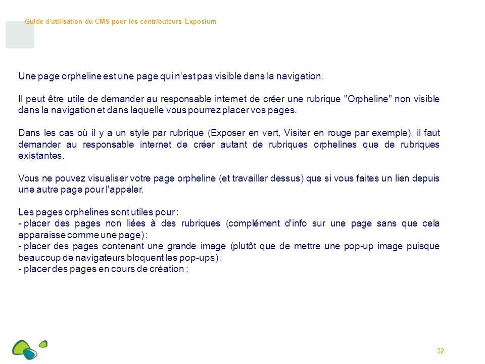 Une page orpheline est une page qui n est pas visible dans la navigation.