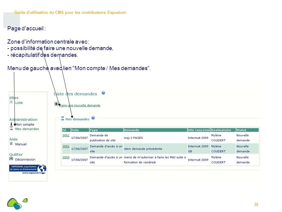 Page d accueil : Zone d information centrale avec : possibilité de faire une nouvelle demande, récapitulatif des demandes.