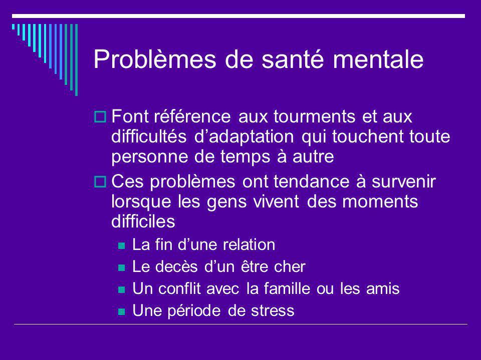 Problèmes de santé mentale
