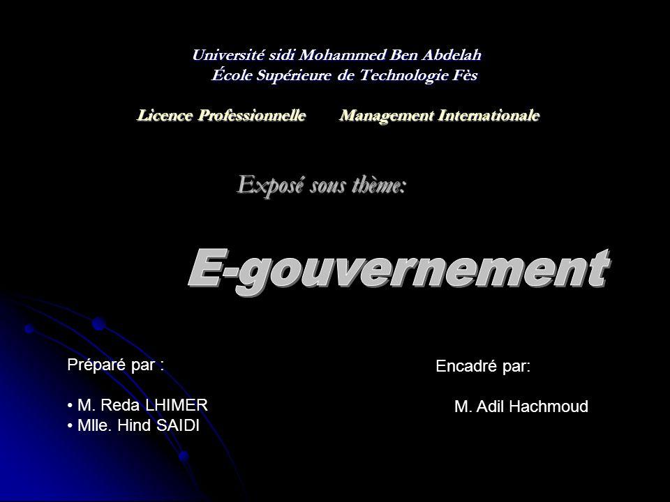 E-gouvernement Exposé sous thème: