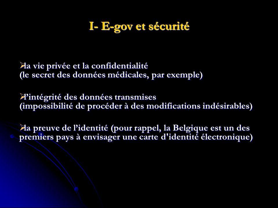 I- E-gov et sécurité la vie privée et la confidentialité (le secret des données médicales, par exemple)