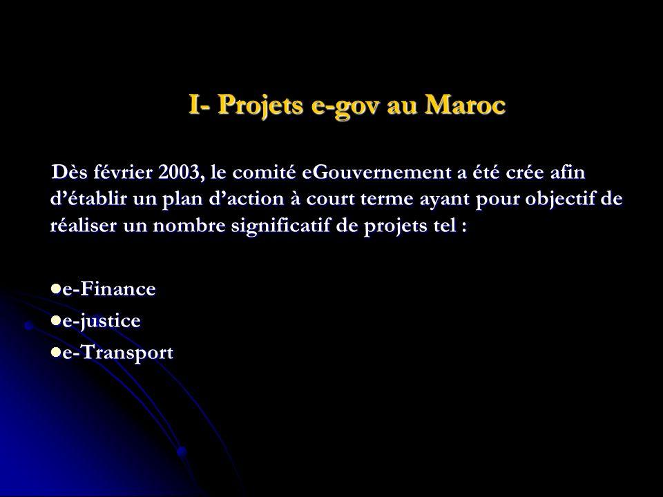 I- Projets e-gov au Maroc