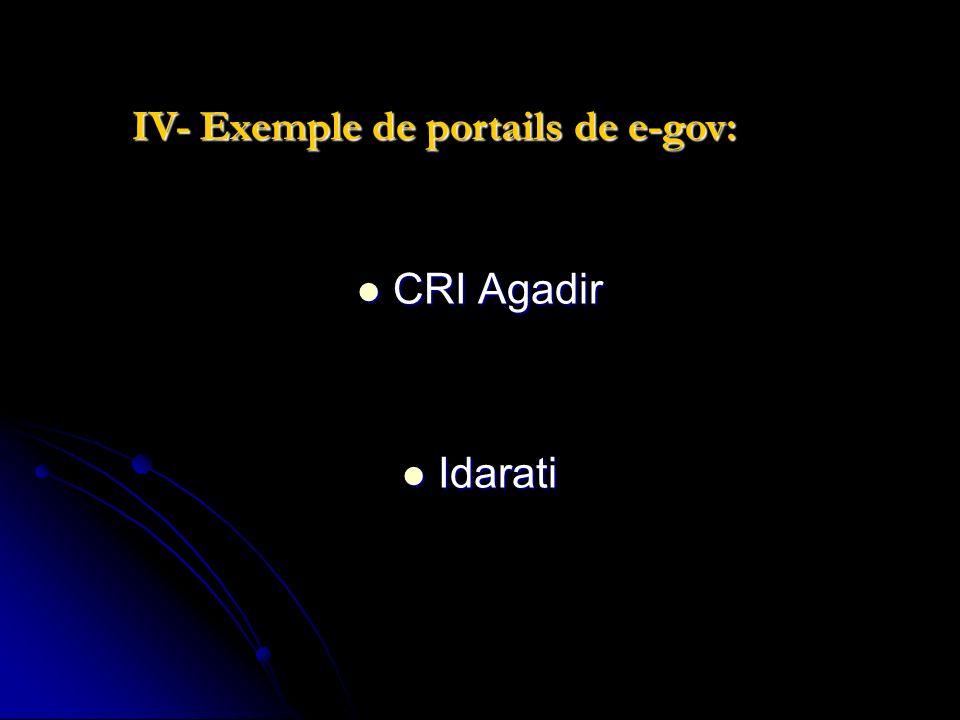 IV- Exemple de portails de e-gov: