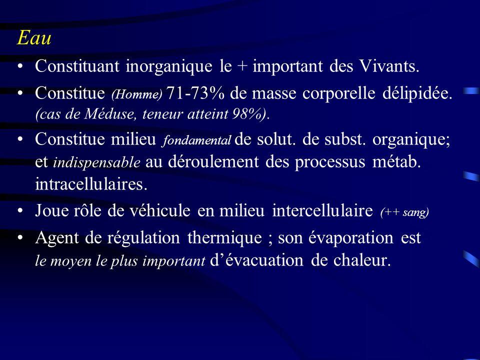 Eau Constituant inorganique le + important des Vivants.