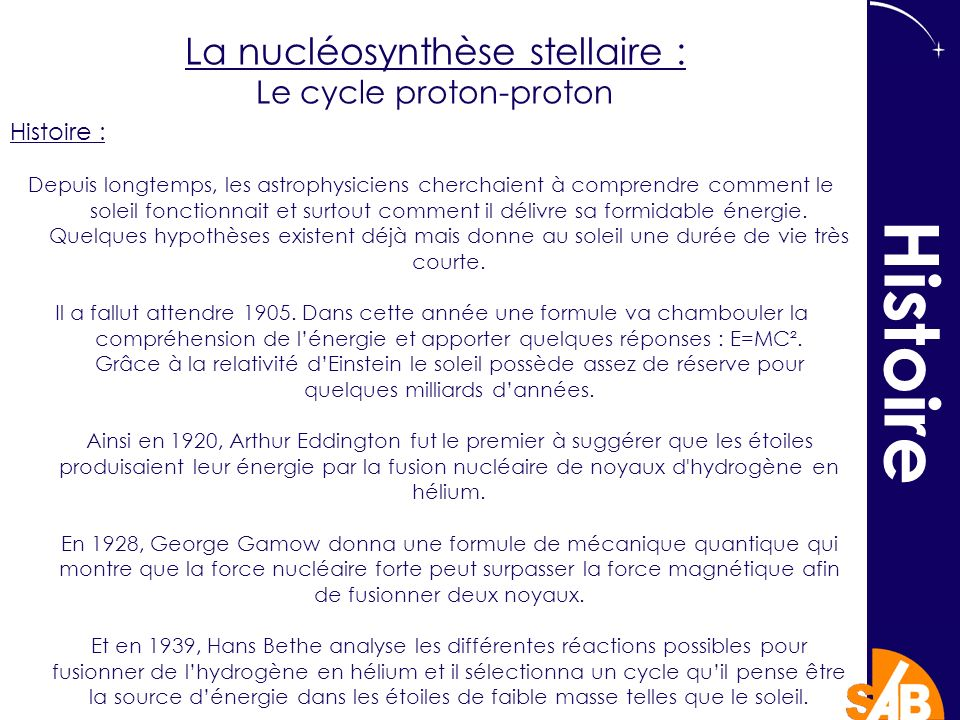 Histoire La nucléosynthèse stellaire : Le cycle proton-proton