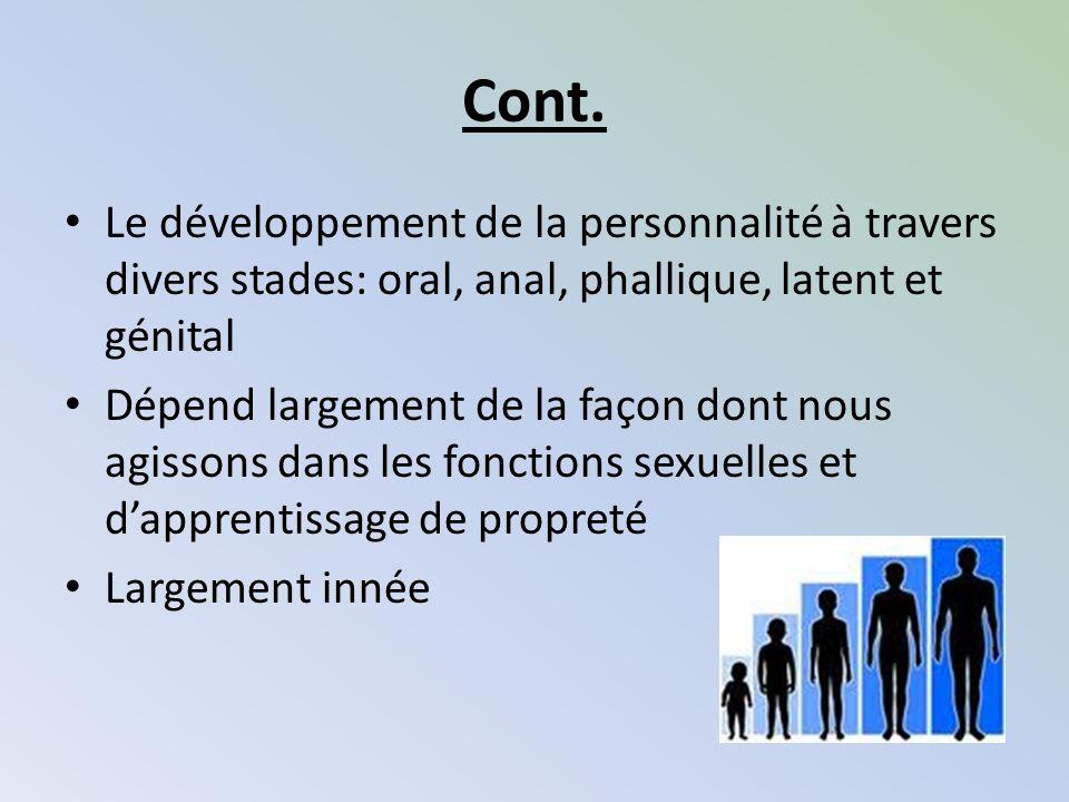 Cont. Le développement de la personnalité à travers divers stades: oral, anal, phallique, latent et génital.
