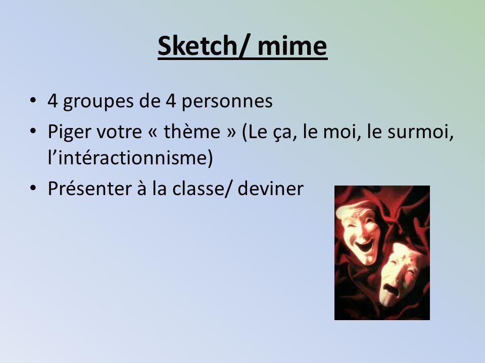 Sketch/ mime 4 groupes de 4 personnes