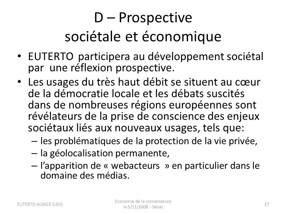 D – Prospective sociétale et économique