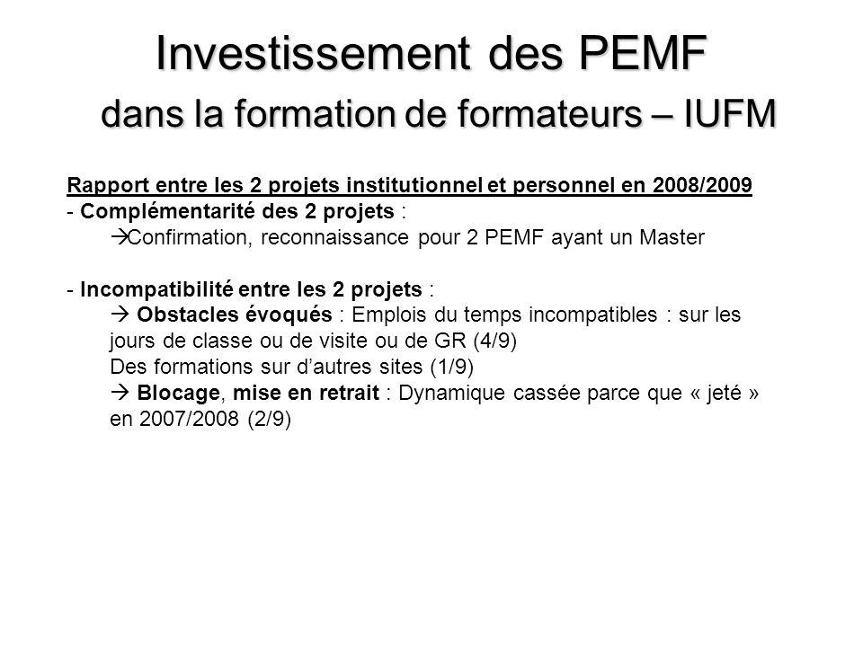 Investissement des PEMF dans la formation de formateurs – IUFM