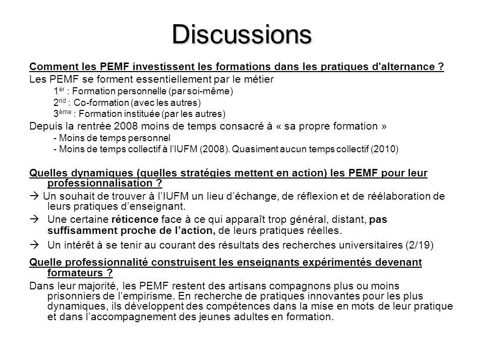Discussions Comment les PEMF investissent les formations dans les pratiques d alternance Les PEMF se forment essentiellement par le métier.