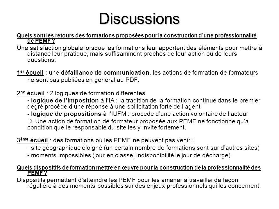 Discussions Quels sont les retours des formations proposées pour la construction d'une professionnalité de PEMF