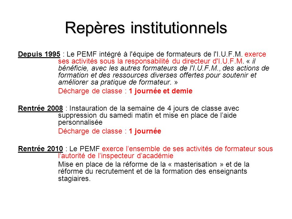 Repères institutionnels