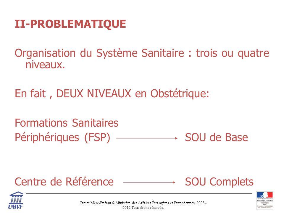 II-PROBLEMATIQUE Organisation du Système Sanitaire : trois ou quatre niveaux.