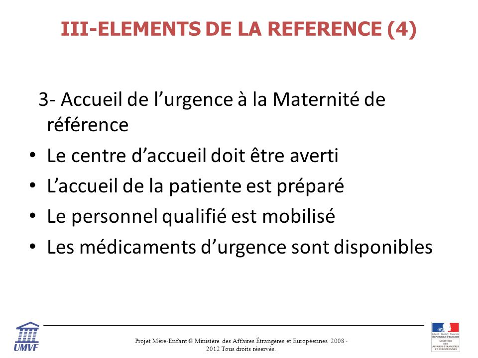 III-ELEMENTS DE LA REFERENCE (4)