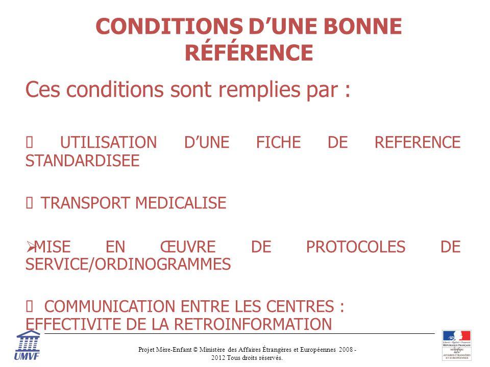 CONDITIONS D'UNE BONNE RÉFÉRENCE