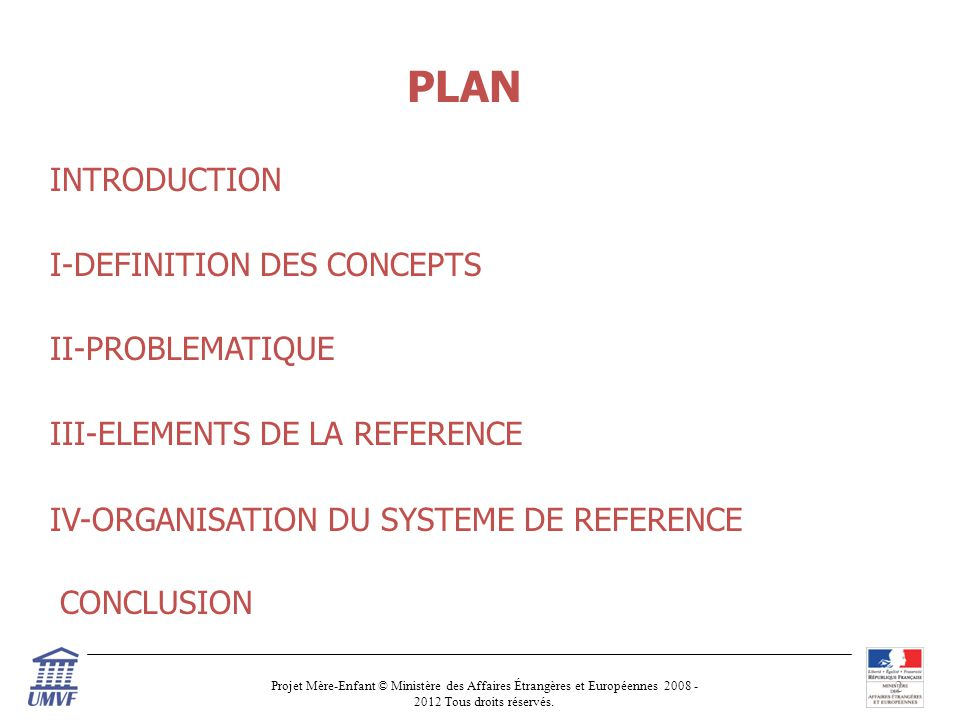 PLAN INTRODUCTION I-DEFINITION DES CONCEPTS II-PROBLEMATIQUE