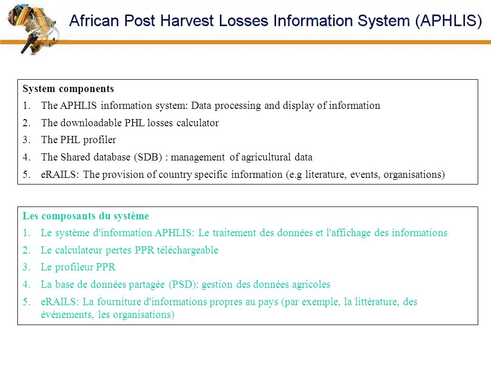 System componentsThe APHLIS information system: Data processing and display of information. The downloadable PHL losses calculator.