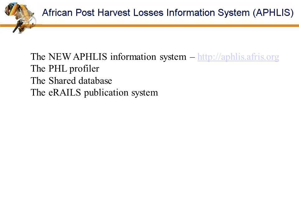 The NEW APHLIS information system – http://aphlis.afris.org