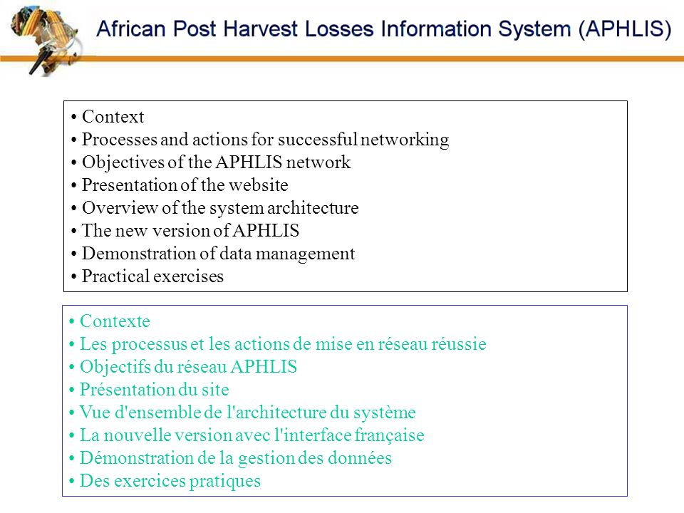Context Processes and actions for successful networking. Objectives of the APHLIS network. Presentation of the website.