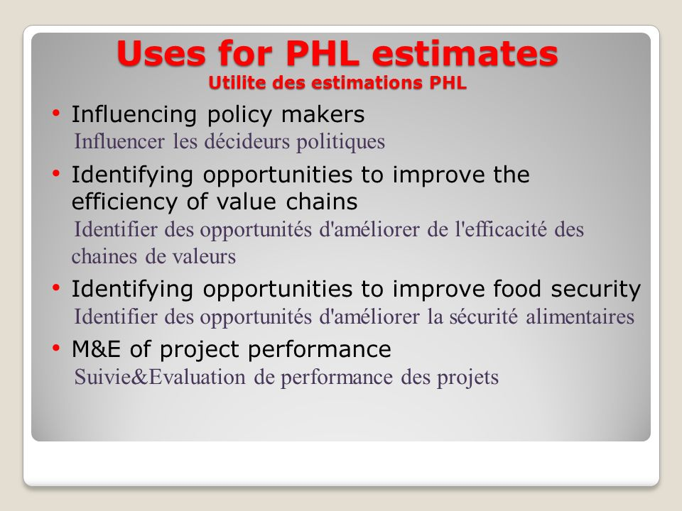 Uses for PHL estimates Utilite des estimations PHL