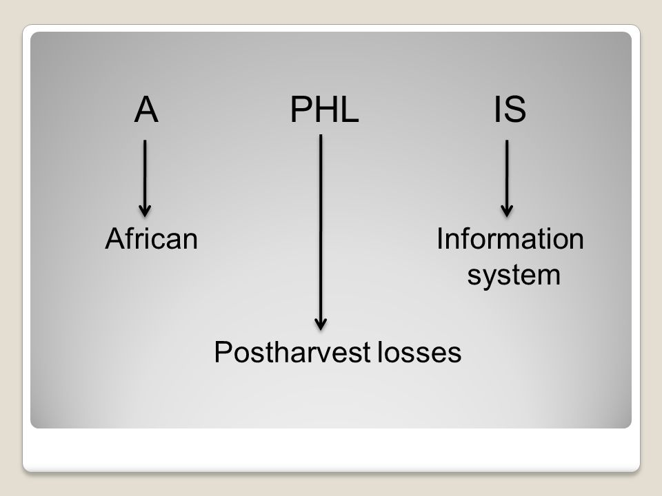 A PHL IS Postharvest losses African Information system