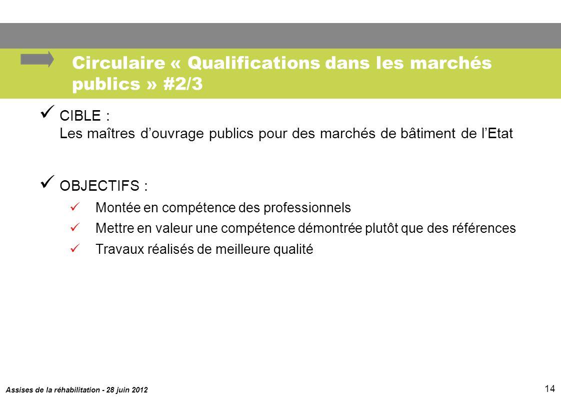 Circulaire « Qualifications dans les marchés publics » #2/3